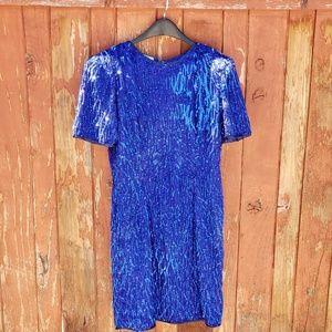 Vintage 80's cobalt blue beaded dress
